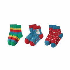 Frugi Little Socks 3 Pack Snowman