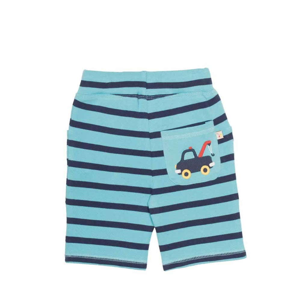 Frugi Little Stripy Shorts Aqua/Navy Breton