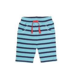 Frugi Little Stripy Shorts in Aqua/Navy Breton