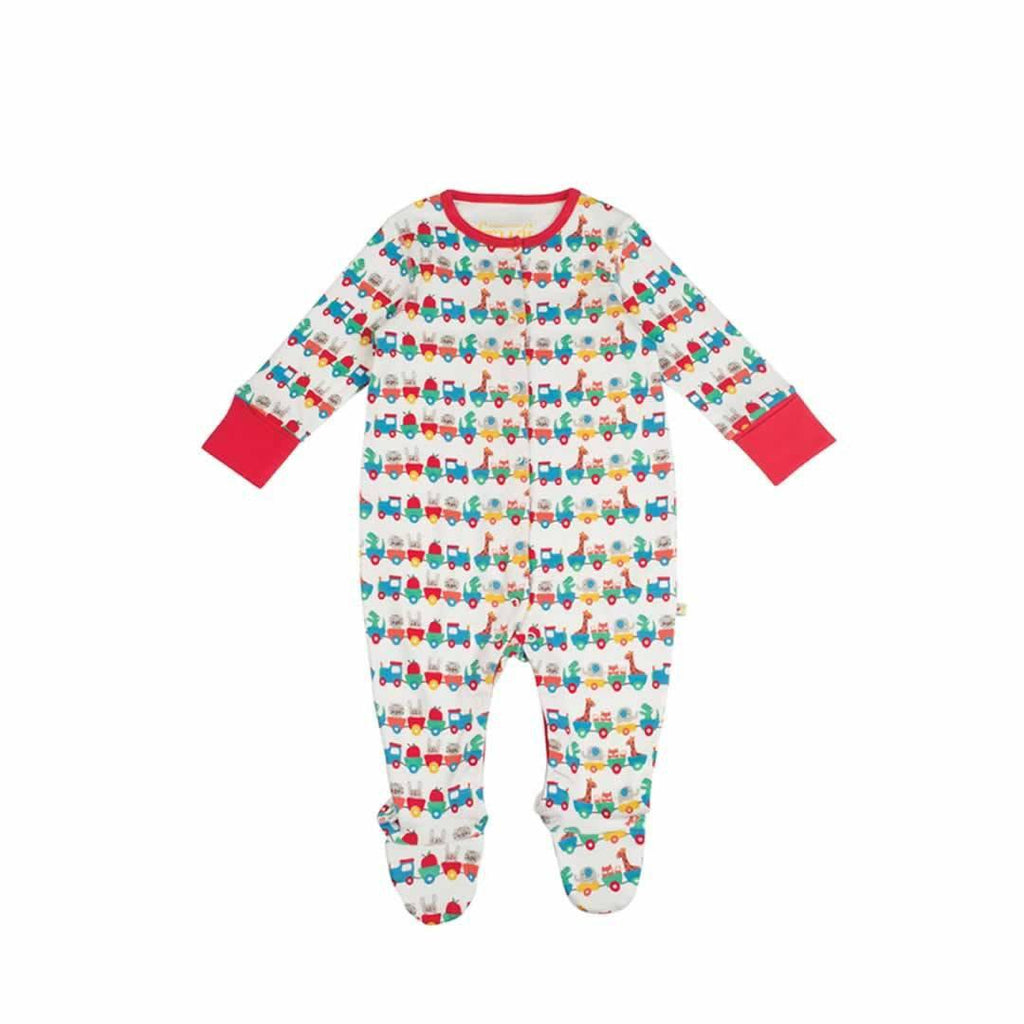 Frugi Lovely Babygrow in Alphabet Train