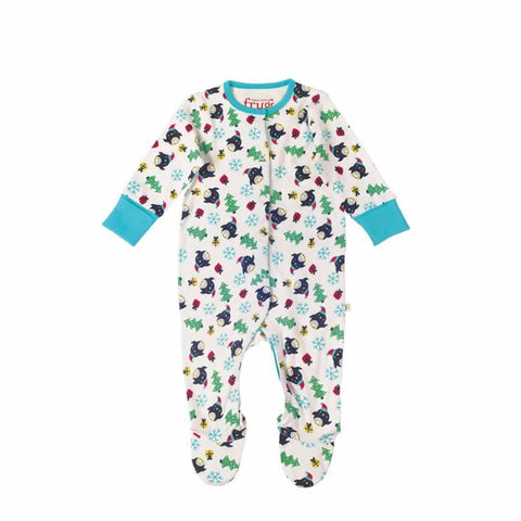 Frugi Lovely Babygrow in Penguin Party