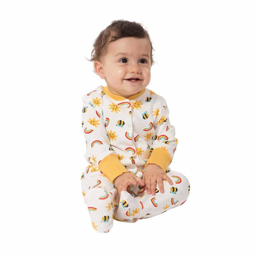 Frugi Lovely Babygrow - Sunny Buzzy Bee - 2 Pack Lifestyle