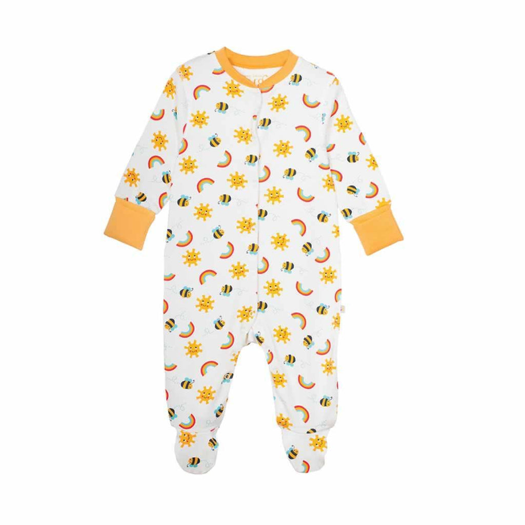 Frugi Lovely Babygrow Sunny Buzzy Bee 2 Pack Front
