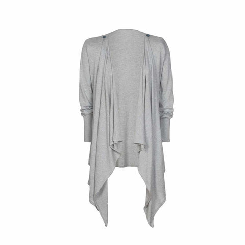 Frugi Maternity Fine Knit Waterfall Cardi in Grey Marl