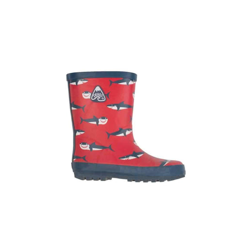 Frugi Puddle Buster Wellington Boots in Hungry Sharks