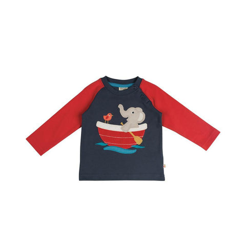 Frugi Raglan Top in Navy/Elephant