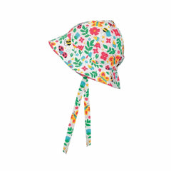 Frugi Reversible Ditsy Hat Garden Friends