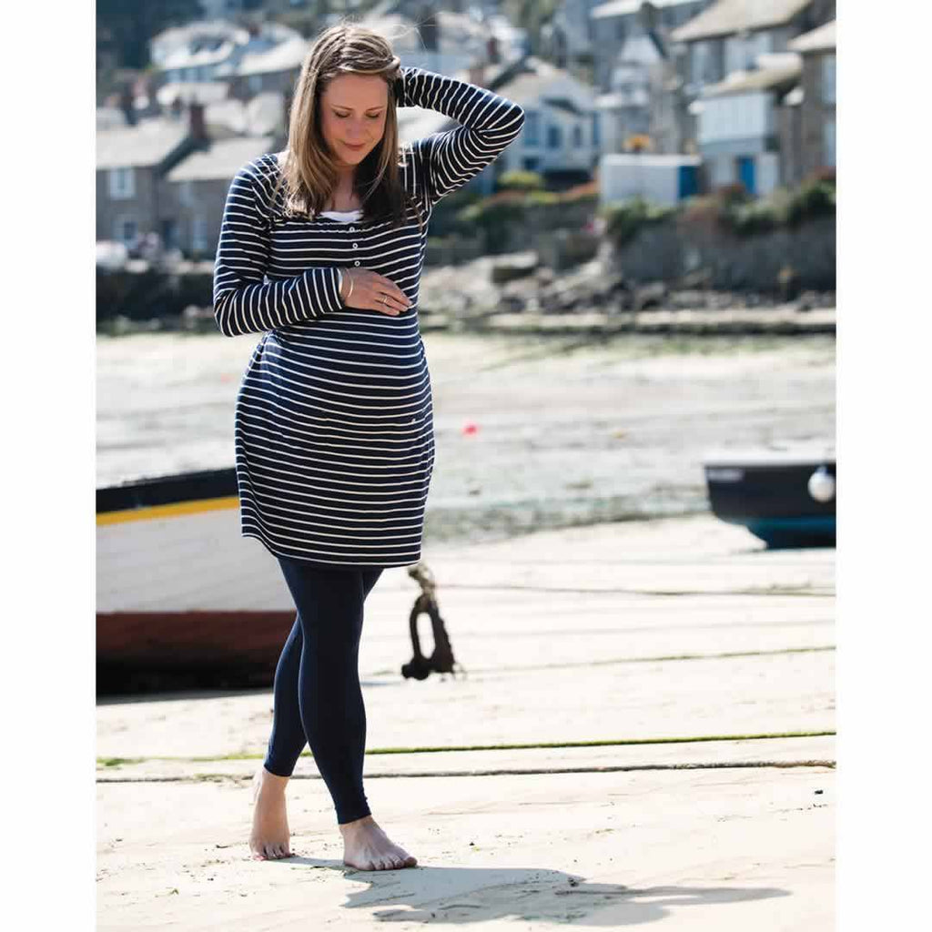 Frugi Roll Top Yoga Pants - Navy Iris Lifestyle