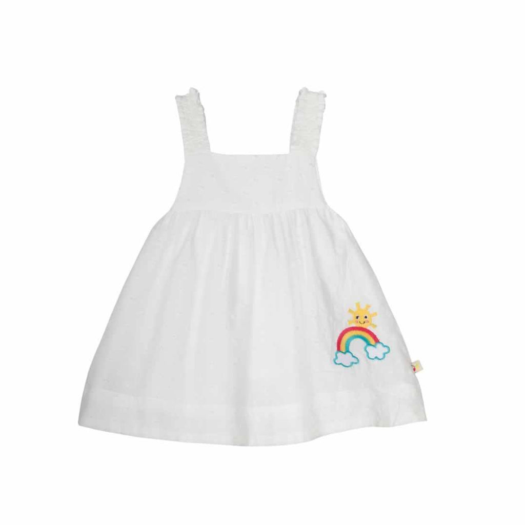 Frugi Ruffle Bum Outfit - White Swiss Dot Top