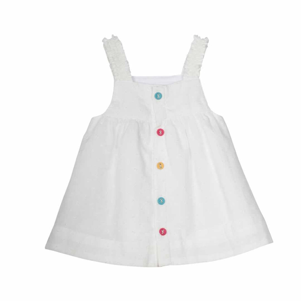Frugi Ruffle Bum Outfit - White Swiss Dot Top back