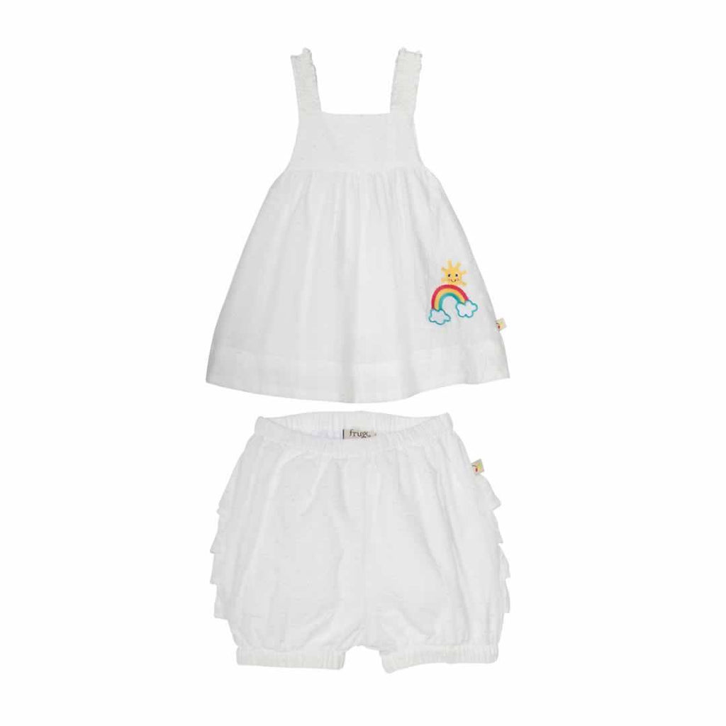 Frugi Ruffle Bum Outfit in White Swiss Dot