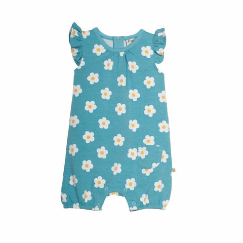 Frugi Run Around Romper in Little Aqua Daisy