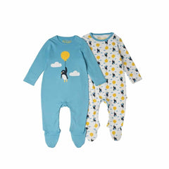 Frugi Scrumptious Babygrow 2 Pack in Up and Away