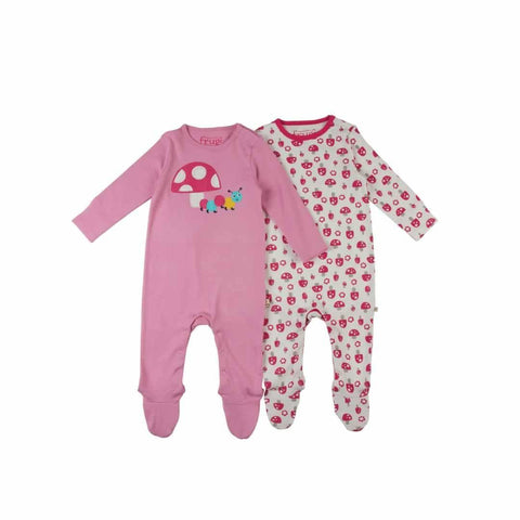 Frugi Scrumptious Babygrow 2 Pack in Woodland Mushrooms