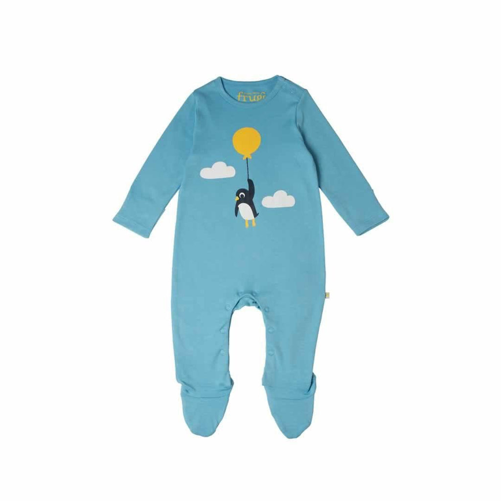 Frugi Scrumptious Babygrow 2 Pack - Up and Away Blue Front