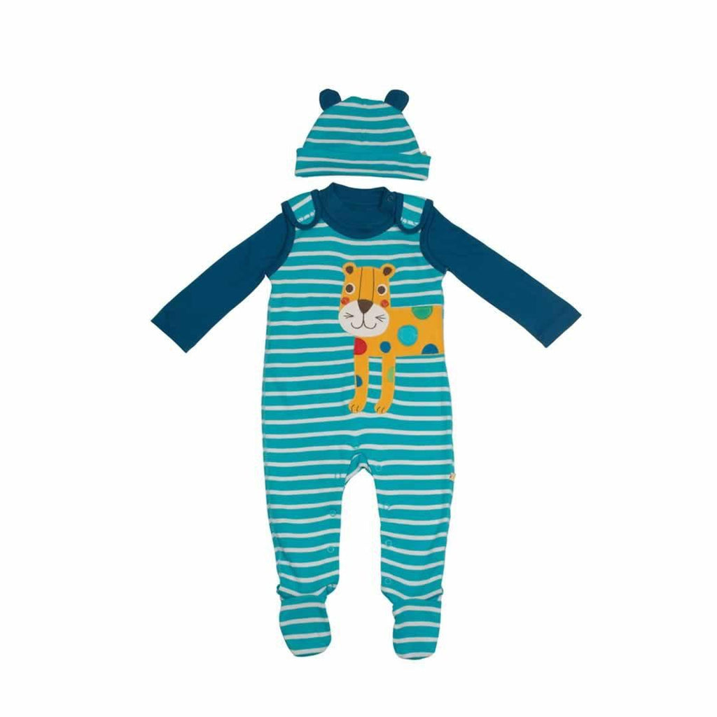 Frugi Snuggle Baby Gift Set in Cornish Sea Breton/Leopard