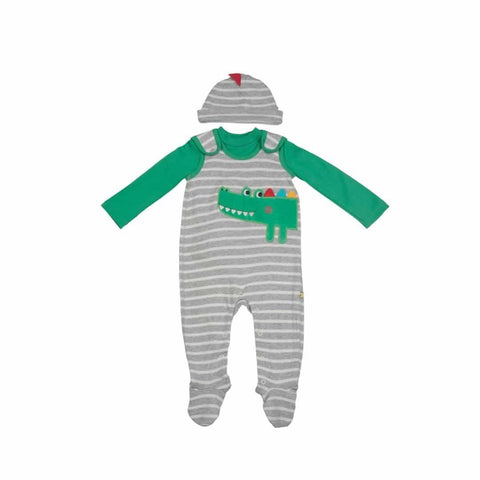 Frugi Snuggle Baby Gift Set - Grey Marl Breton/Croc - Playsuits & Rompers - Natural Baby Shower