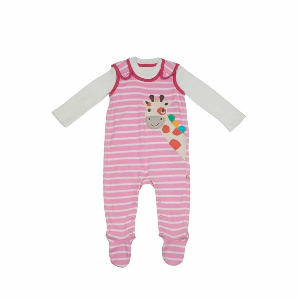 Frugi Snuggle Baby Gift Set - Pretty Pink Breton/Giraffe - Playsuits & Rompers - Natural Baby Shower