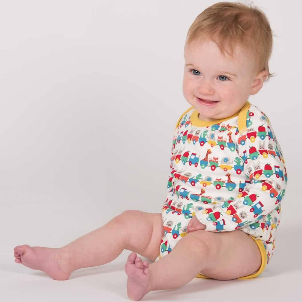 Frugi Special Bodies - Alphabet Train - 3 Pack Lifestyle