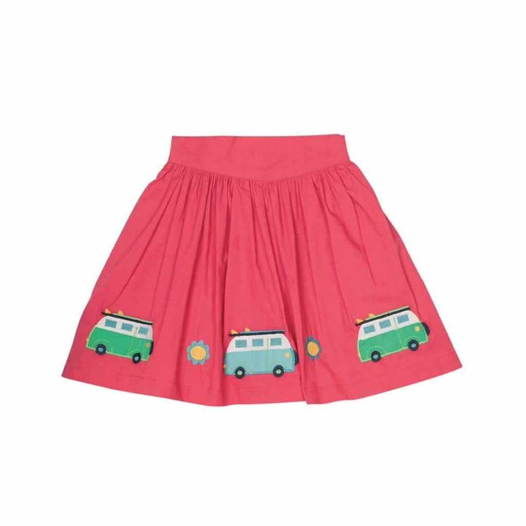 Frugi St Mawes Embellished Skirt in Raspberry/Camper
