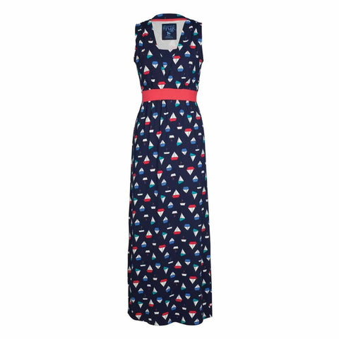 Frugi Summer Tie Maxi Dress Navy Iris Boats