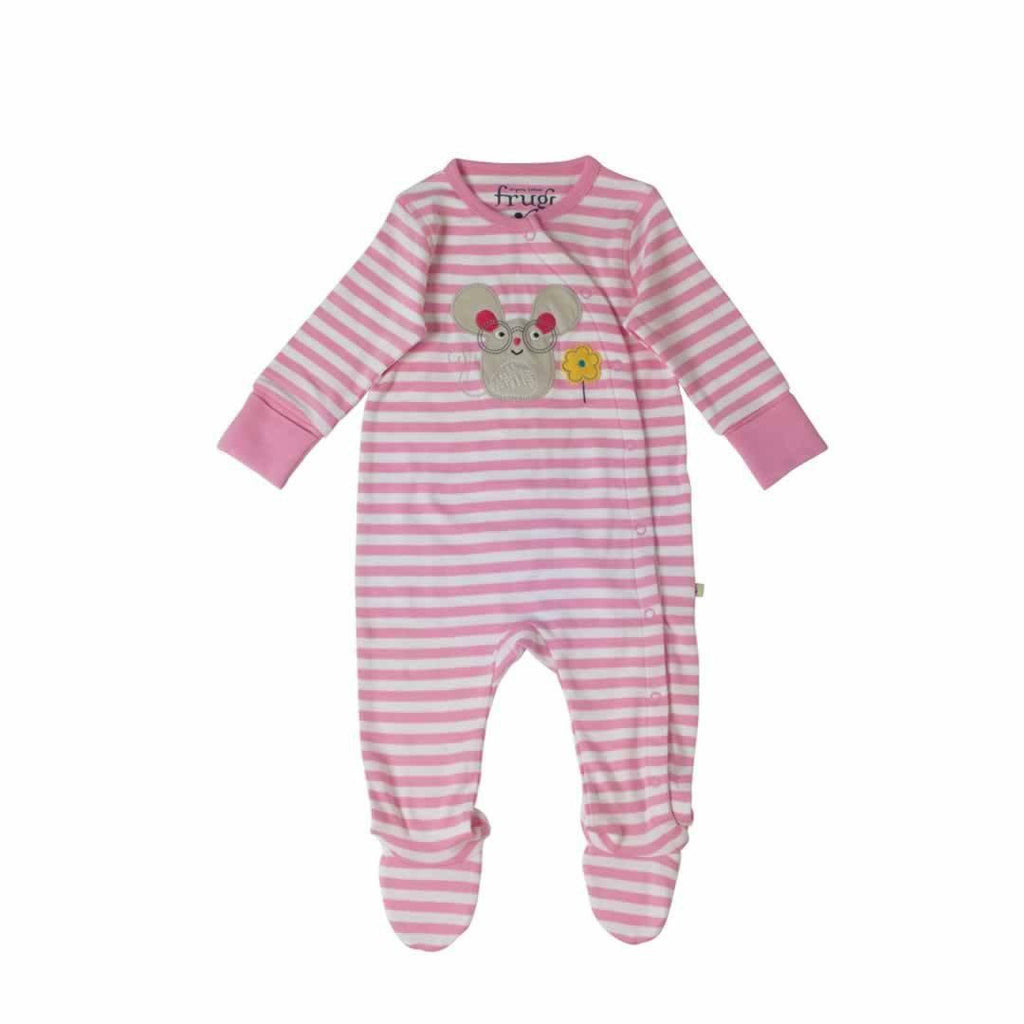 Frugi Swoop Babygrow in Pretty Pink Fine Stripe/Mouse