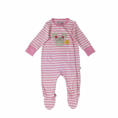 Frugi Swoop Babygrow - Pretty Pink Fine Stripe/Mouse - Babygrows & Sleepsuits - Natural Baby Shower