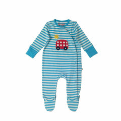 Frugi Swoop Babygrow Soft Blue Fine Stripe/Bus