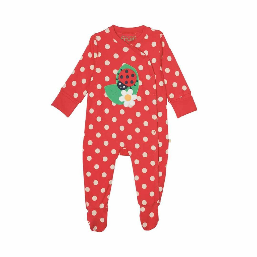Frugi Swoop Babygrow - Tomato Spot/Ladybird - Babygrows & Sleepsuits - Natural Baby Shower