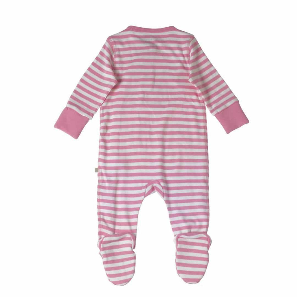 Frugi Swoop Babygrow Pretty Pink Fine Stripe/Mouse