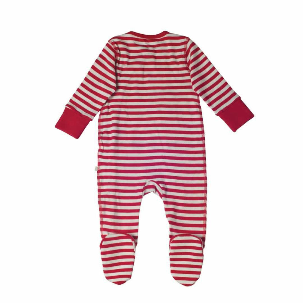 Frugi Swoop Babygrow in Tomato Fine Stripe/Tractor