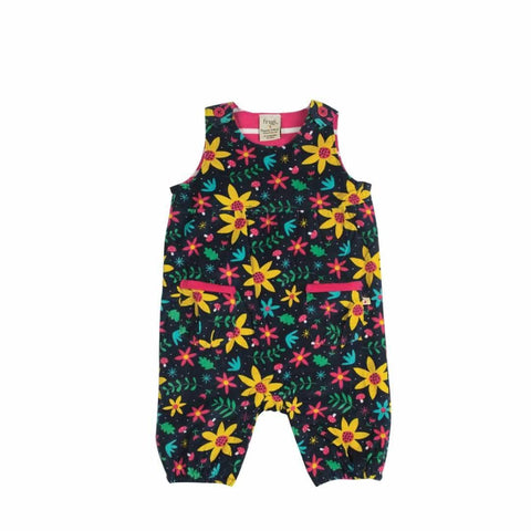 Frugi Willow Cord Dungarees Navy Forest Floral