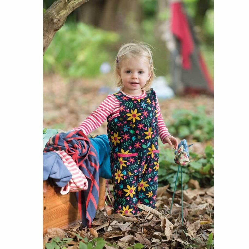 Frugi Willow Cord Dungarees - Navy Forest Floral Lifestyle
