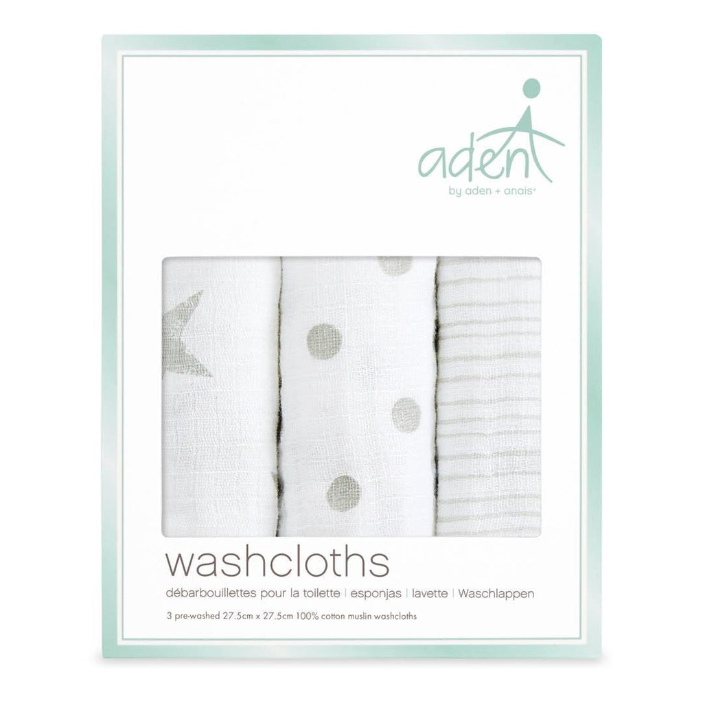 aden by aden + anais Washcloths - Dusty - 3 Pack-Washcloths- Natural Baby Shower