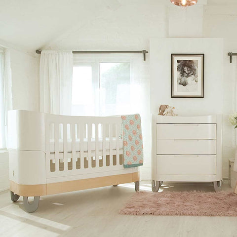 Gaia Baby Serena Complete Sleep Baby Bed - White/Natural-Cot Beds- Natural Baby Shower