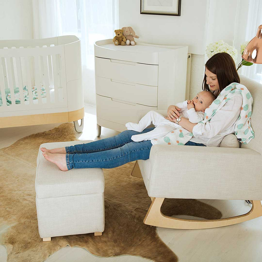 Gaia Baby Rocking Chair & Footstool - Oat-Feeding Chairs- Natural Baby Shower