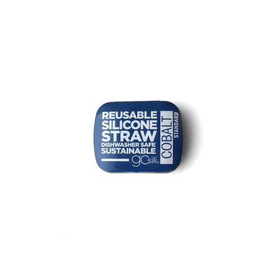 GoSili Single Straw & Tin - Cobalt-Cups & Straws-Default- Natural Baby Shower