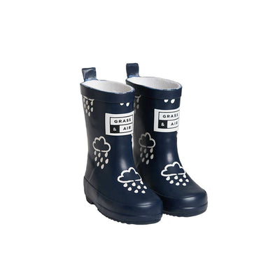 Grass & Air Colour-Revealing Wellies - Navy-Wellies- Natural Baby Shower
