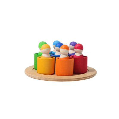 Grimms Seven Friends in Bowls-Sorting & Stacking Toys- Natural Baby Shower
