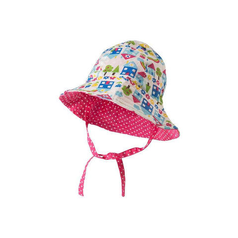 Frugi Reversible Ditsy Hat - Happy Houses