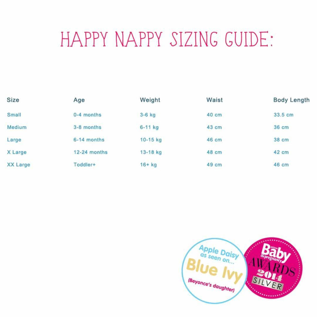 Splash About Happy Nappy Wetsuit - Apple Daisy Size Guide