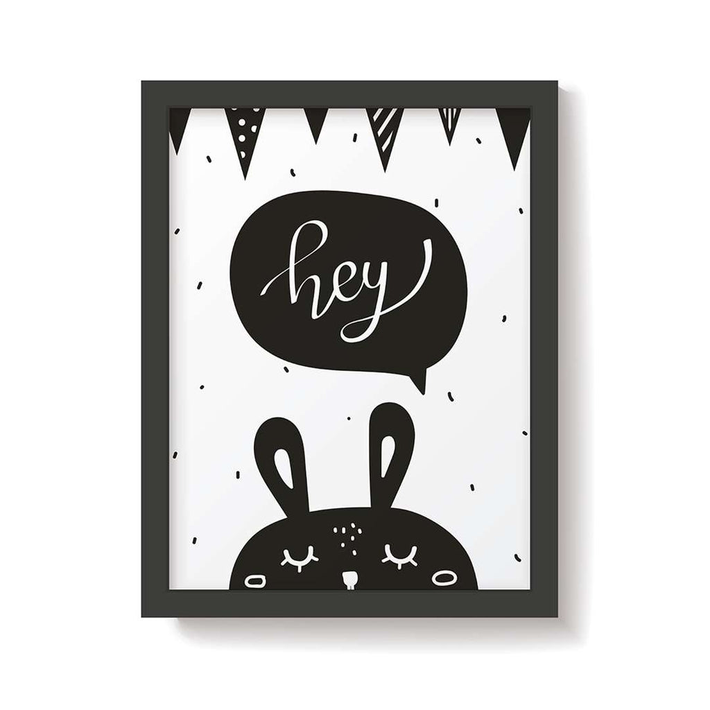Snuz Hey Bunny Nursery Print - Monochrome-Artwork & Stickers- Natural Baby Shower