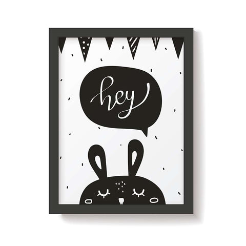 Snuz Hey Bunny Nursery Print - Monochrome-Nursery Accessories- Natural Baby Shower