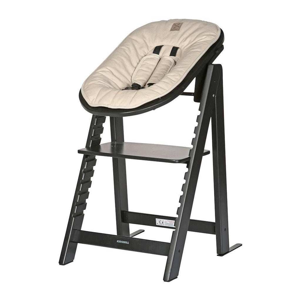 Kidsmill Highchair Up! + Bouncer - Black-High Chairs-Sand- Natural Baby Shower