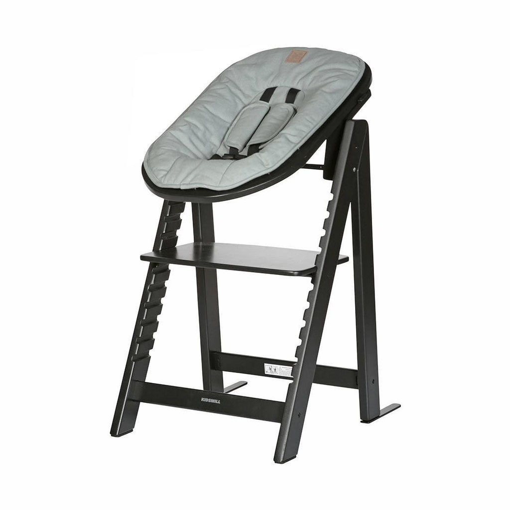 Kidsmill Highchair Up! + Bouncer - Black-High Chairs-Soft Green- Natural Baby Shower