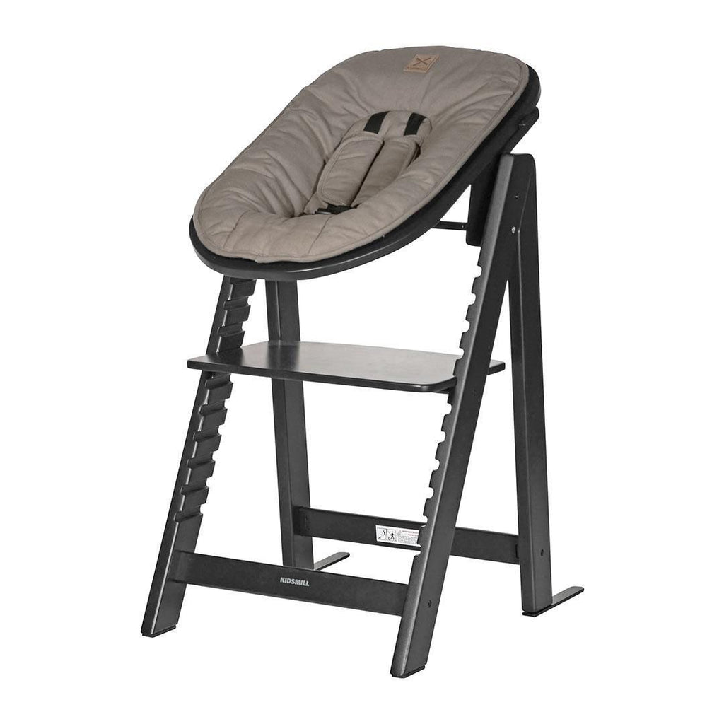 Kidsmill Highchair Up! + Bouncer - Black-High Chairs-Taupe- Natural Baby Shower