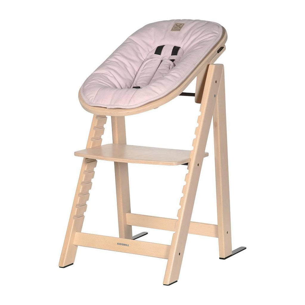 Kidsmill Highchair Up! + Bouncer Bundle - Natural + Pink