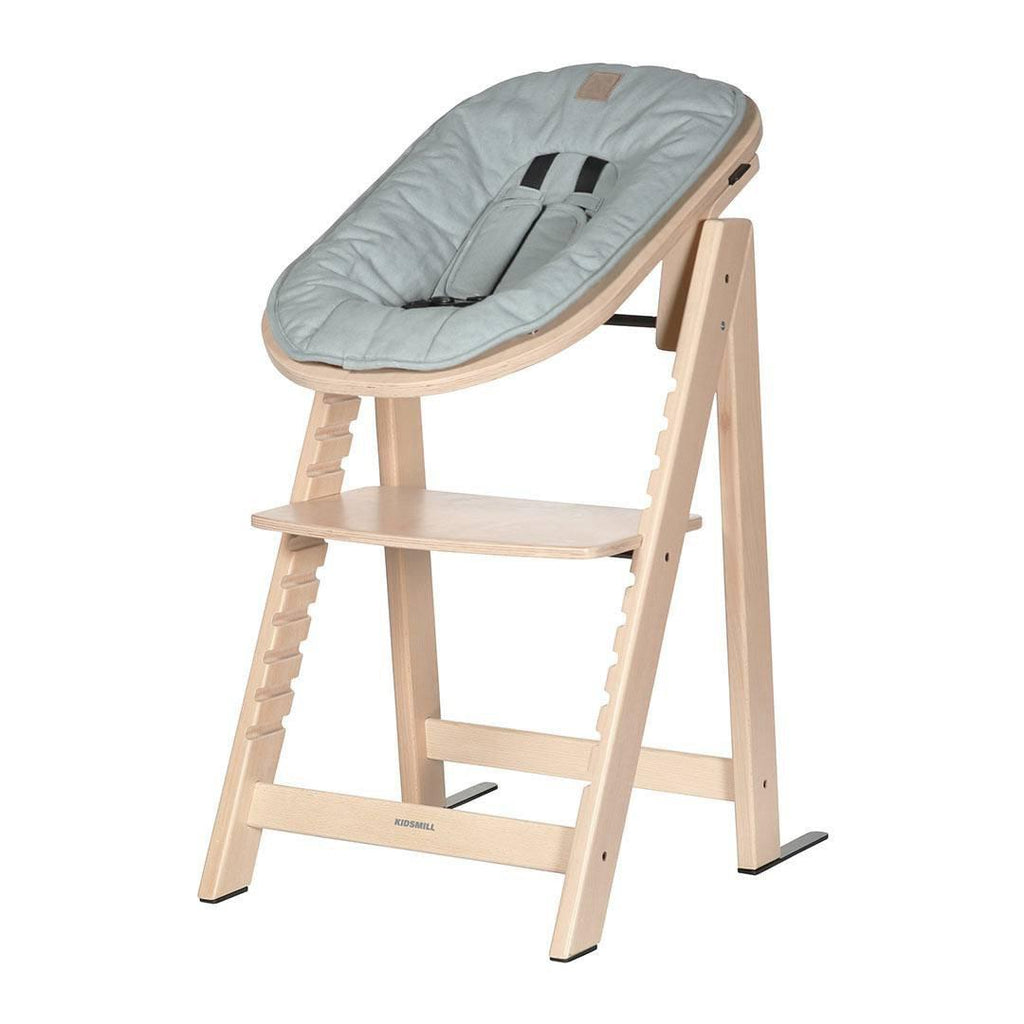 Kidsmill Highchair Up! + Bouncer Bundle - Natural + Soft Green