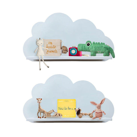 Inadam Furniture Cloud Shelves - 2 Pack - White-Shelves- Natural Baby Shower
