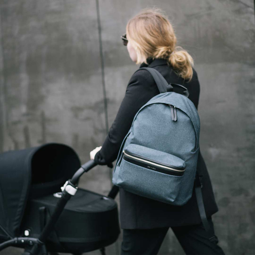 JEM + BEA Jamie Denim Backpack Changing Bag - Indigo-Changing Bags-Indigo- Natural Baby Shower